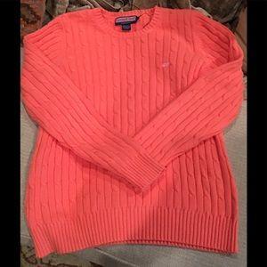 Vineyard Vines Salmon Orange Cable Knit Sweater